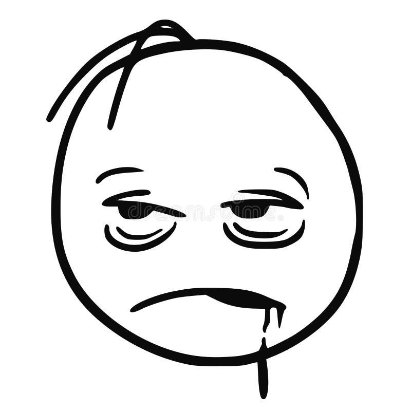 Stickman kreskówki wektor Zmęczony, Śpiący, Chory, Chmielny lub Świdrowy, ilustracji