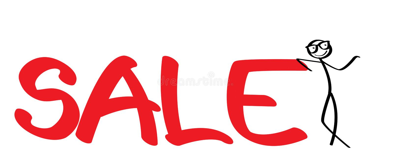 Stickman med ett stort försäljningstecken stock illustrationer