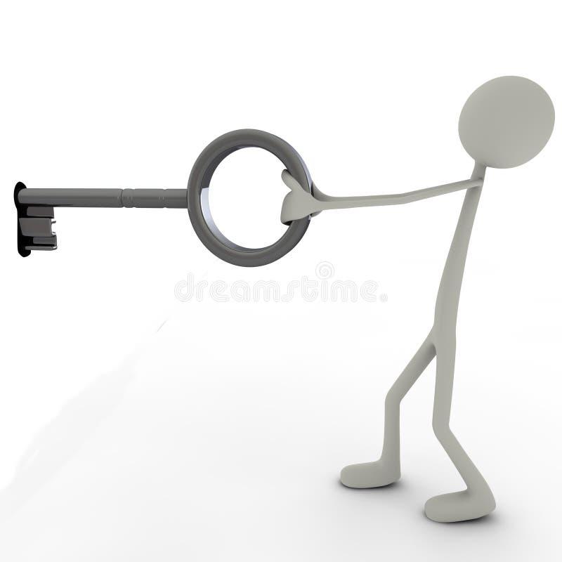Stickman met een sleutel stock illustratie