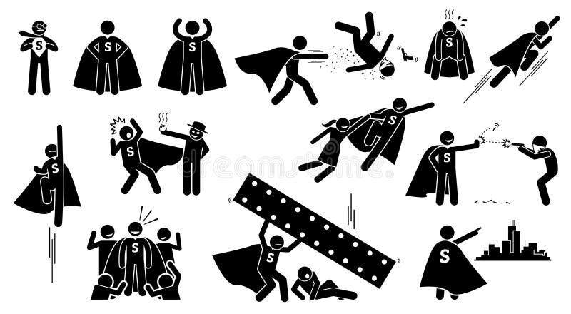 Stickman nadczłowieka bohater ilustracji