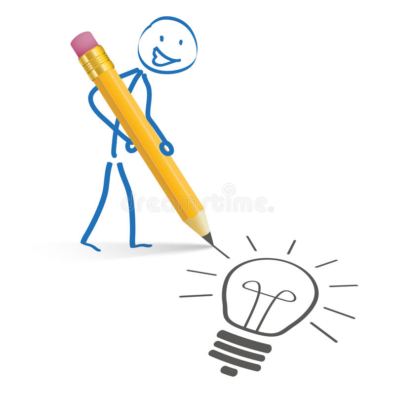 Stickman ołówka pomysł ilustracja wektor