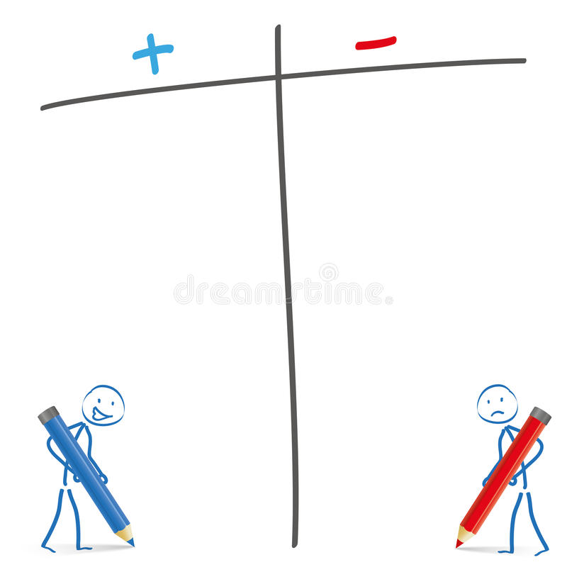 Stickman Pro Contra. Stickmen with pencils and pro and contra list on the white background vector illustration