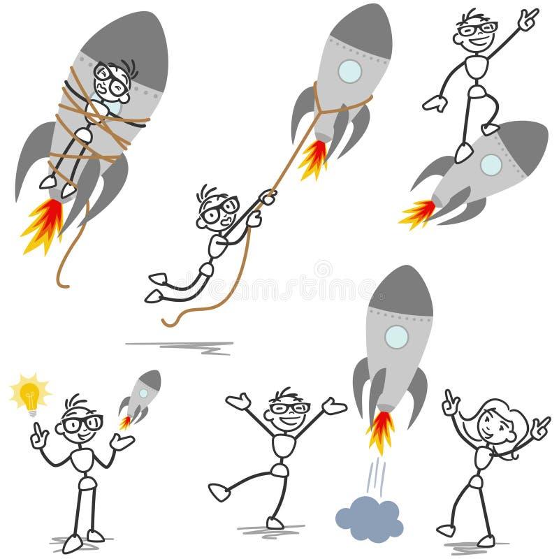 Stickman raket avfyrad startup teamwork royaltyfri illustrationer