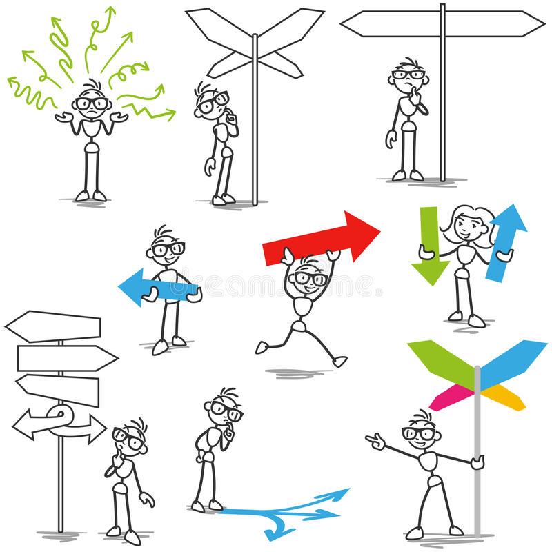 Stickman sign direction arrow decision. Set of vector stick figures: Stickman with arrows and road signs, directions, deciding which way to go stock illustration