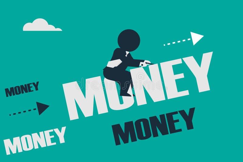 Stickman spojrzenie jak biznesmen jedzie upwards na pieniądze słowie ilustracji