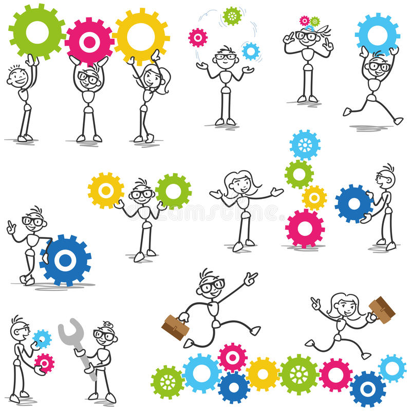 Stickman stick figure cog wheel construction engineer. Set of vector stick figures: Stickman with cog wheels, gears, interacting with coworkers, teamwork stock illustration