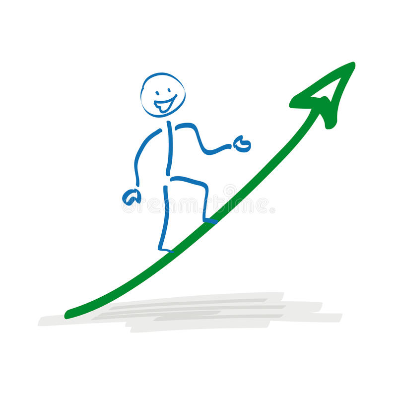 Stickman sulla freccia di crescita illustrazione vettoriale