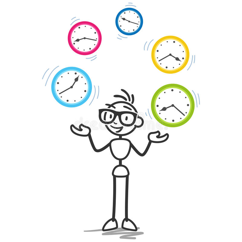 Stickman time management productivity schedule. Conceptual vector stick figure illustration: Stickman juggling with clocks symbolizing time management royalty free illustration
