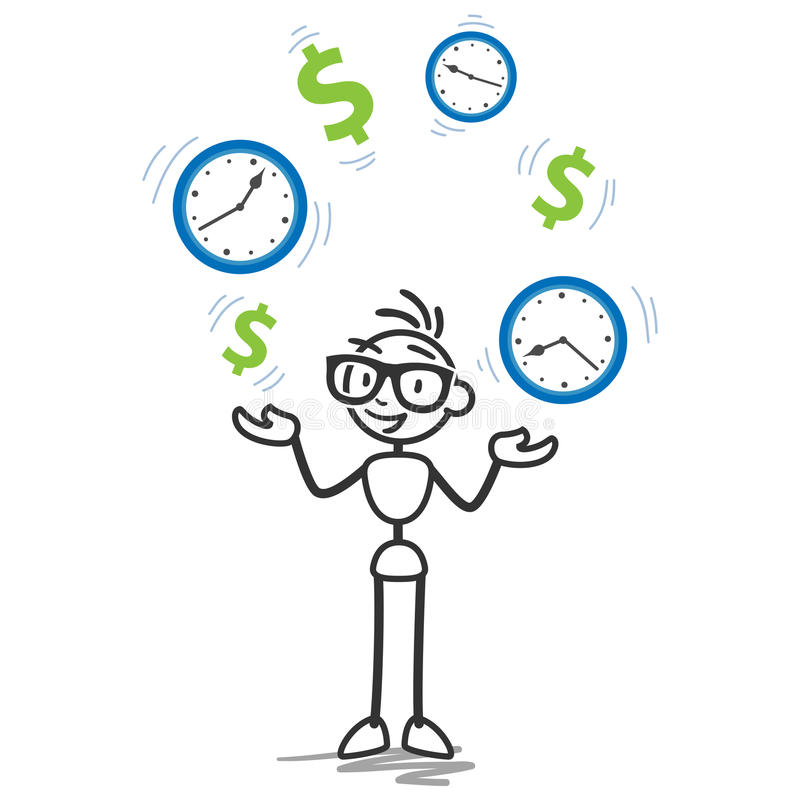 Stickman time is money, productivity. Conceptual vector stick figure illustration: Stickman juggling with dollar signs and clocks, symbolizing time is money and royalty free illustration