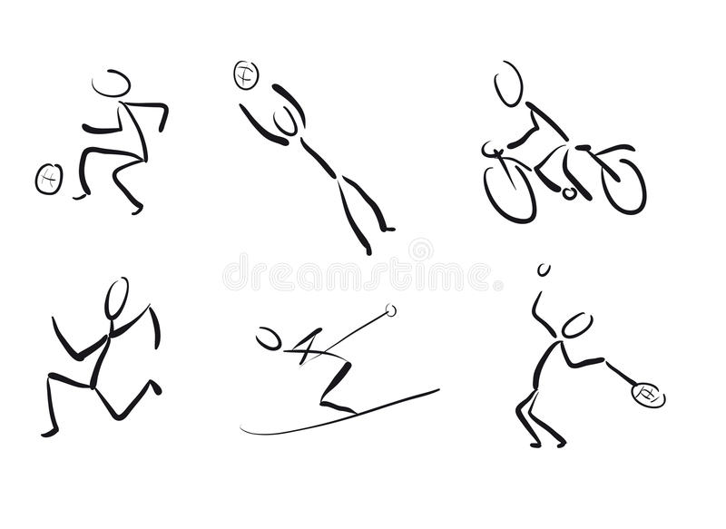 Stickmans as sport pictograms vector illustration