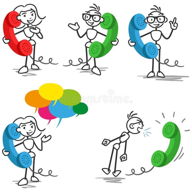 Stickmantelefoongesprek het spreken het roepen vector illustratie
