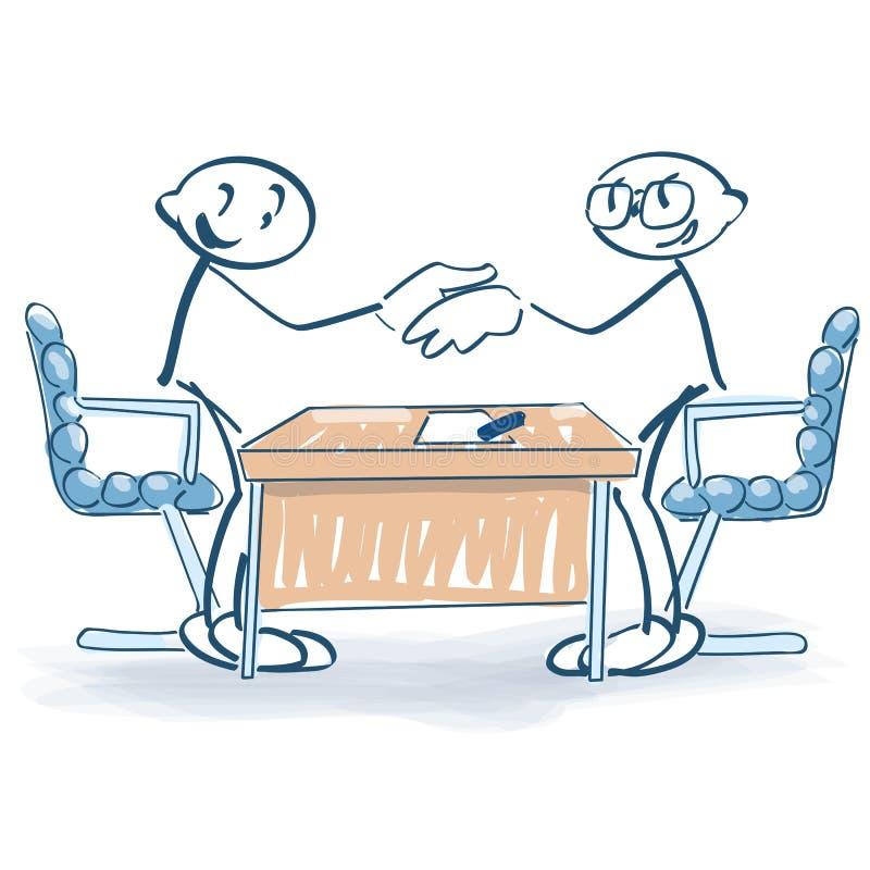 Stickmen med avtalet och skakahänder royaltyfri illustrationer