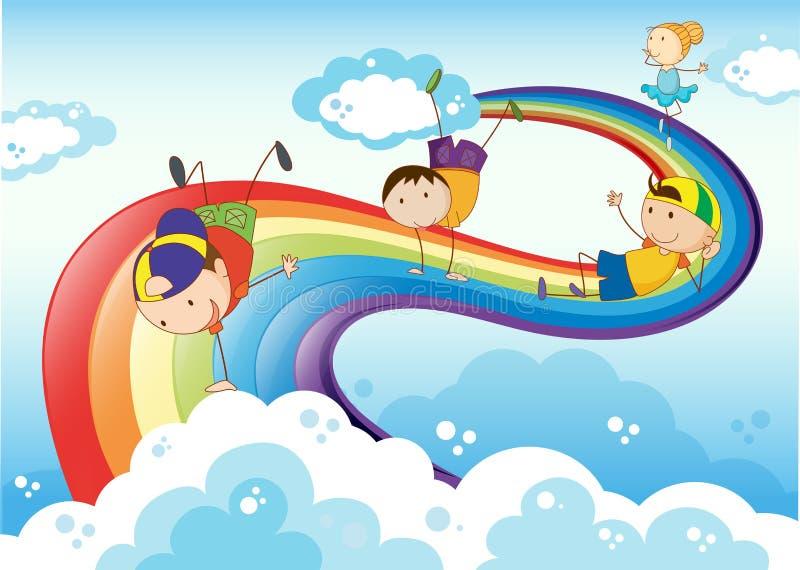 Stickmen som spelar med regnbågen royaltyfri illustrationer
