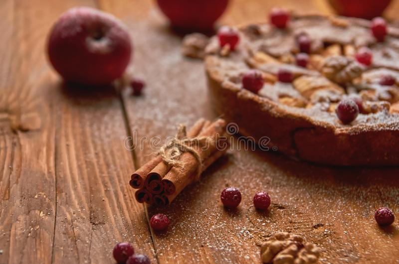 Sticks of cinnamon on wooden brown background. Powdered apple pie with fresh cranberries, walnuts decorated with apples, cinnamon royalty free stock photography