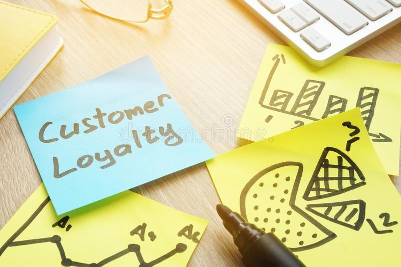 Sticks with customer loyalty program on a table. stock images