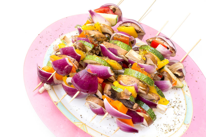 Sticks with healthy vegetables ready to grill stock photo
