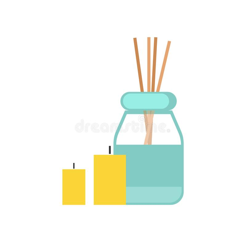 Sticks, Oil and Candles for Massage Cartoon Banner. Sticks, oil and candles, equipment for massage cartoon banner vector isolated. Wooden wands in can and full royalty free illustration