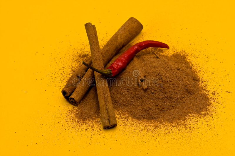 Download Sticks And Powder Of Cinnamon And Red Pepper Stock Image - Image of ingredient, health: 6489187