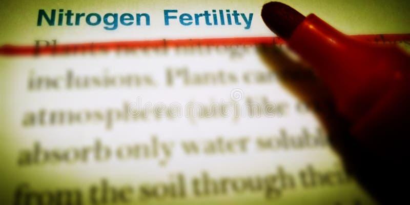 Stickstofffruchtbarkeit Agrarterminologie auf gelbem Hintergrund lizenzfreies stockfoto
