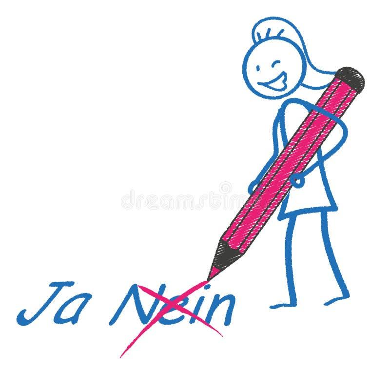 Stickwoman pióro Ja Nein ilustracji