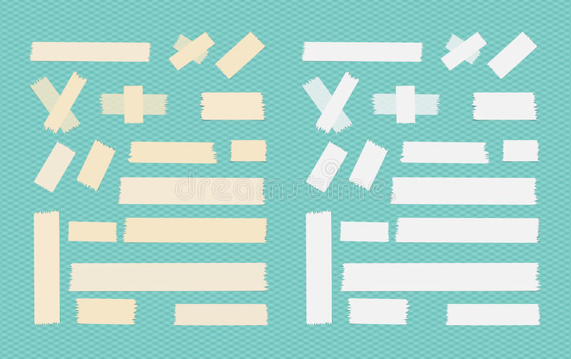 Sticky adhesive paper strips, masking tape, stuck on blue squared background.  vector illustration