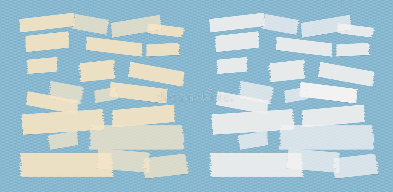 Sticky adhesive paper strips, masking tape, stuck on blue squared background.  royalty free illustration