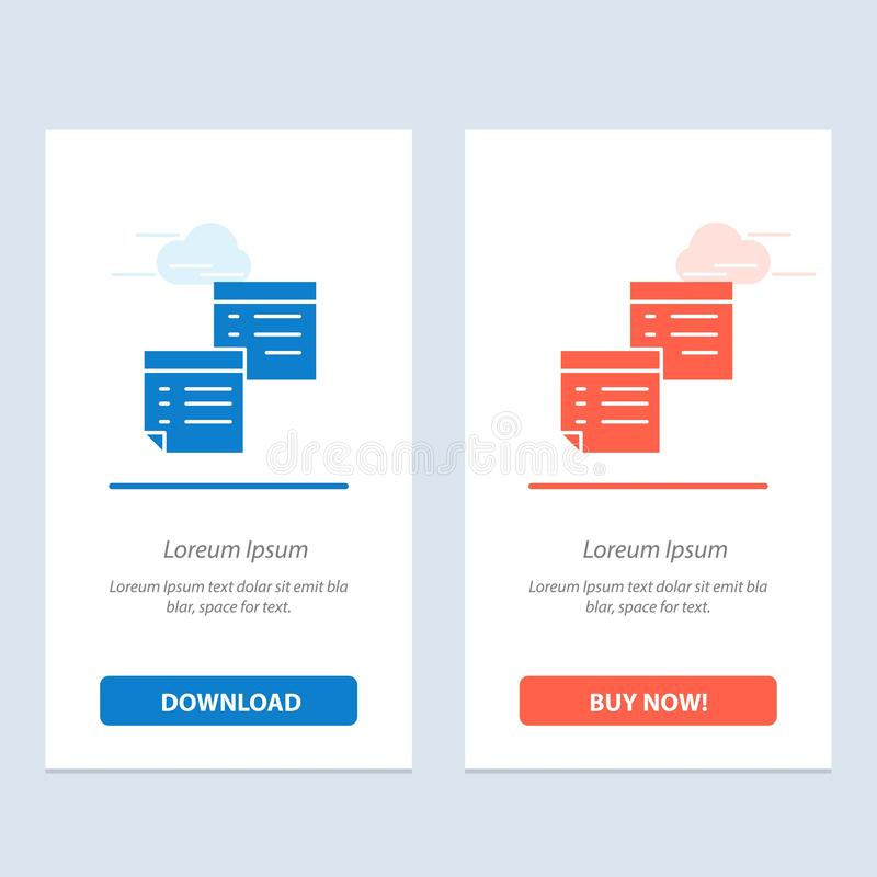 Sticky, Files, Note, Notes, Office, Pages, Paper  Blue and Red Download and Buy Now web Widget Card Template vector illustration