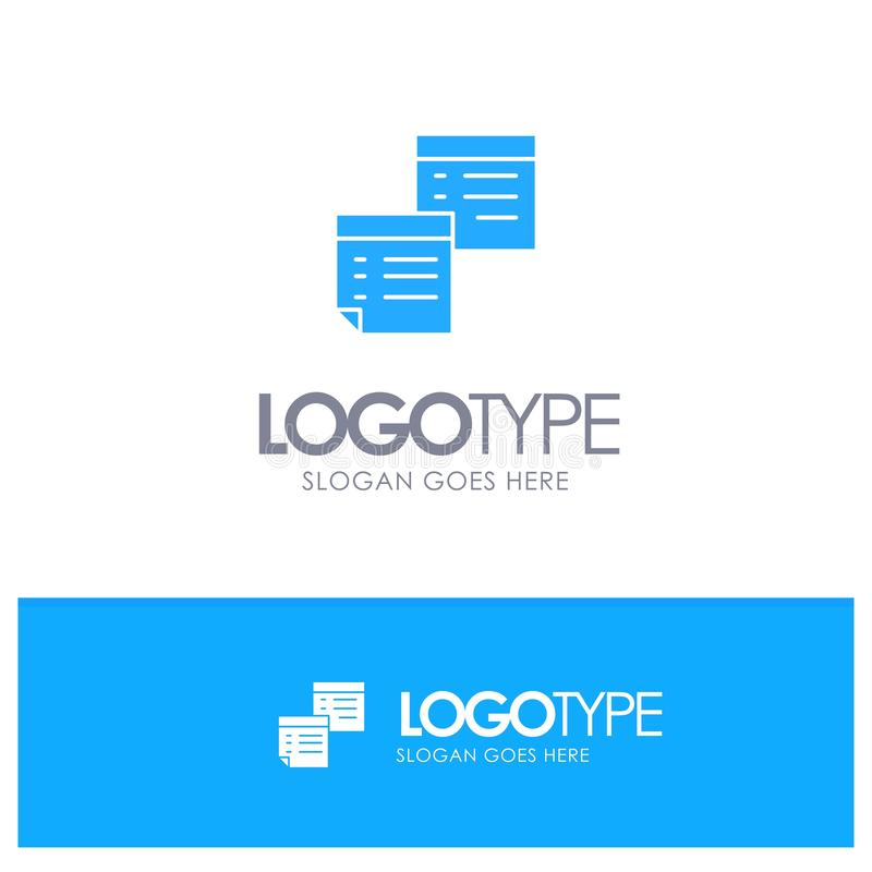 Sticky, Files, Note, Notes, Office, Pages, Paper Blue Solid Logo with place for tagline stock illustration