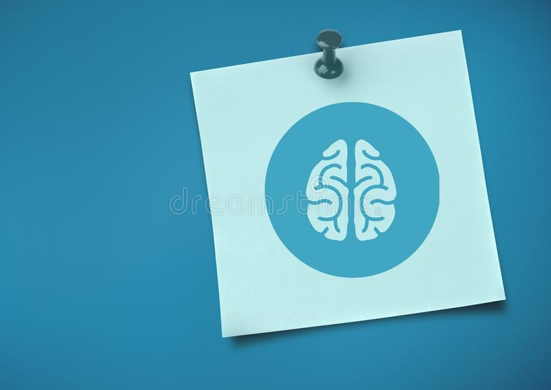 Sticky Note with brain Icon against neutral blue background. Digital composite of Sticky Note with brain Icon against neutral blue background vector illustration
