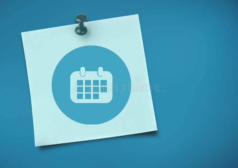Sticky Note with Calendar Icon against neutral blue background. Digital composite of Sticky Note with Calendar Icon against neutral blue background royalty free illustration