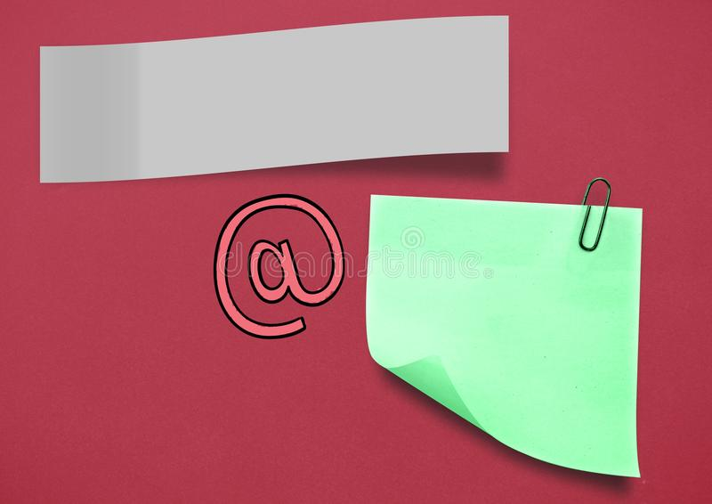 Sticky Note and Email Icon against red background. Digital composite of Sticky Note and Email Icon against red background stock photography