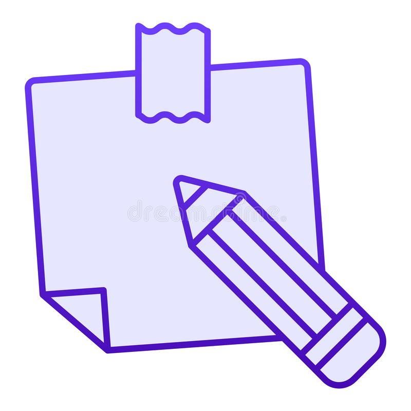 Sticky note flat icon. Paper sticker blue icons in trendy flat style. Notepaper and pencil gradient style design. Designed for web and app. Eps 10 royalty free illustration