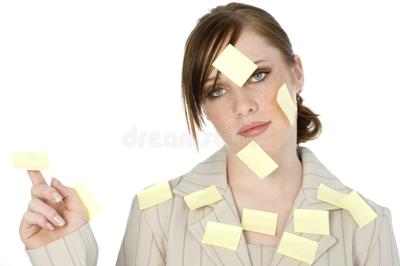 Sticky Note Girl. Beautiful young business woman covered in sticky notes
