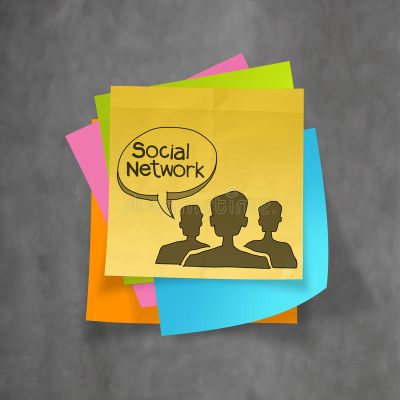 Sticky note with hand drawn social network icon on texture background as concept stock photo