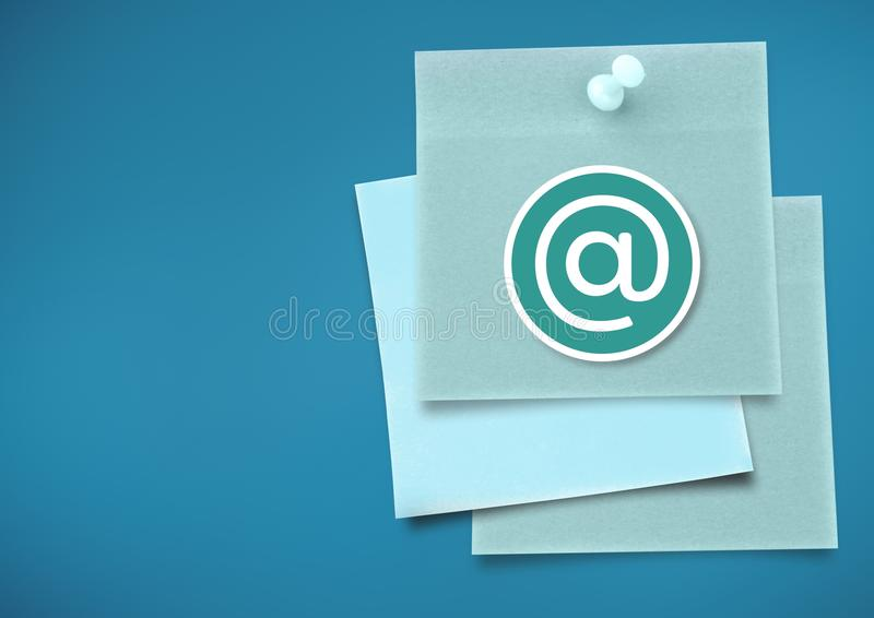 Sticky Note with At Icon against neutral blue background. Digital composite of Sticky Note with At Icon against neutral blue background stock illustration