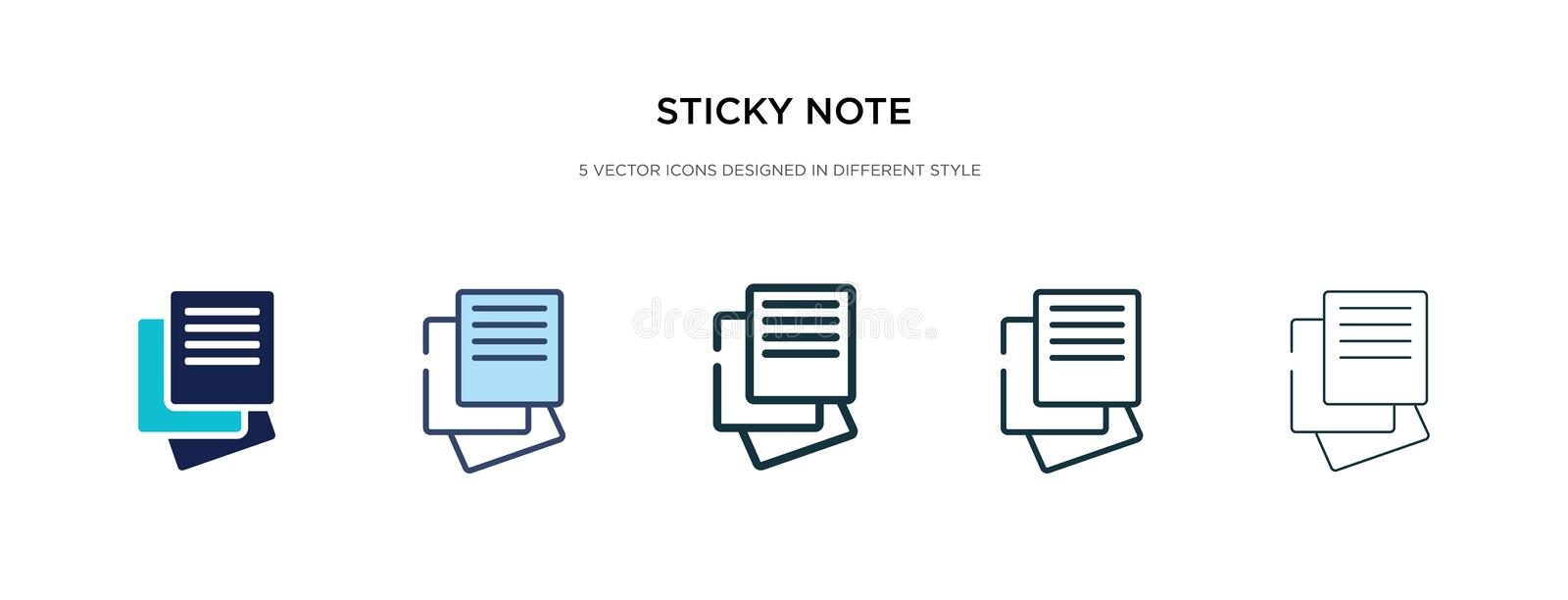 Sticky note icon in different style vector illustration. two colored and black sticky note vector icons designed in filled, royalty free illustration