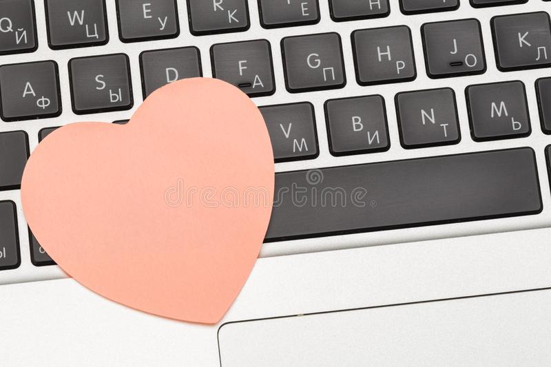 Sticky note on laptop with copy space. For all concept. Image stock image