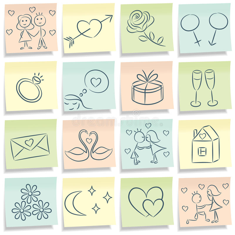 Download Sticky Note With Love Pictures. Stock Vector - Image: 17380485