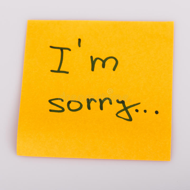 Sticky Note Message Isolated On White - I Am Sorry Stock Photo