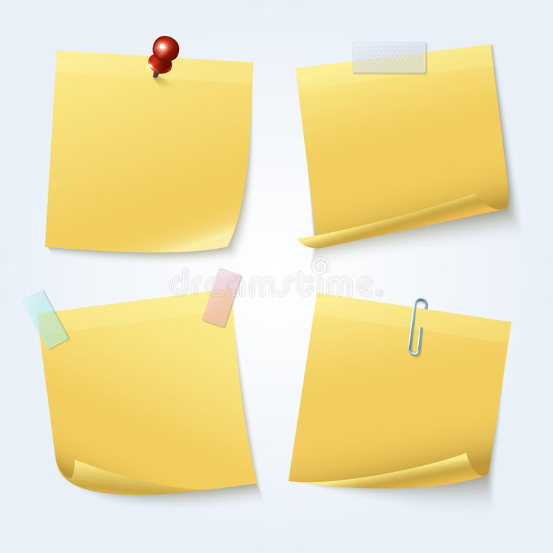 Sticky note pages, yellow papers vector set royalty free illustration