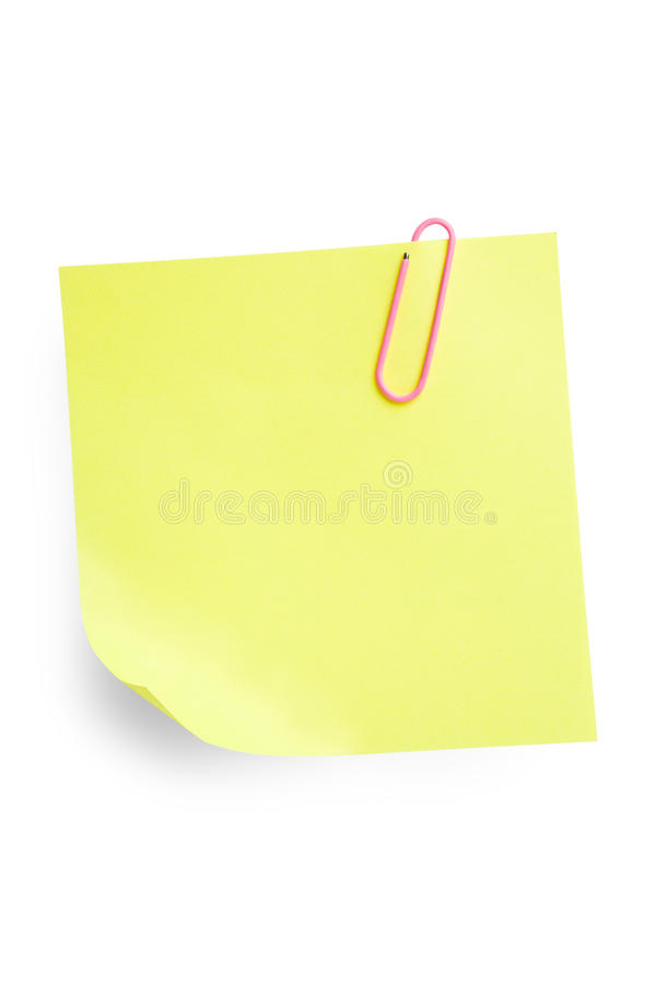 Download Sticky Note with Paperclip stock image. Image of corner - 11200565