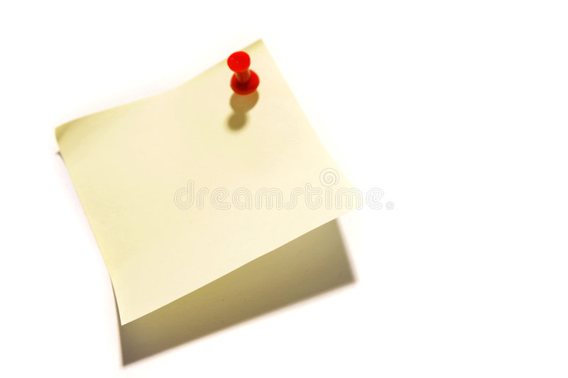 Sticky note with a push pin stock photography