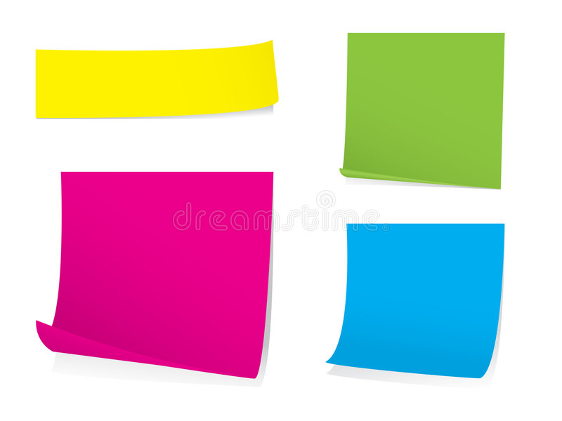 Sticky note set with shadows royalty free illustration