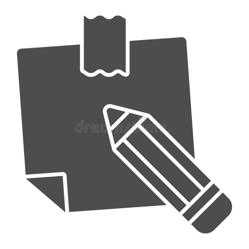 Sticky note solid icon. Paper sticker vector illustration isolated on white. Notepaper and pencil glyph style design. Designed for web and app. Eps 10 vector illustration