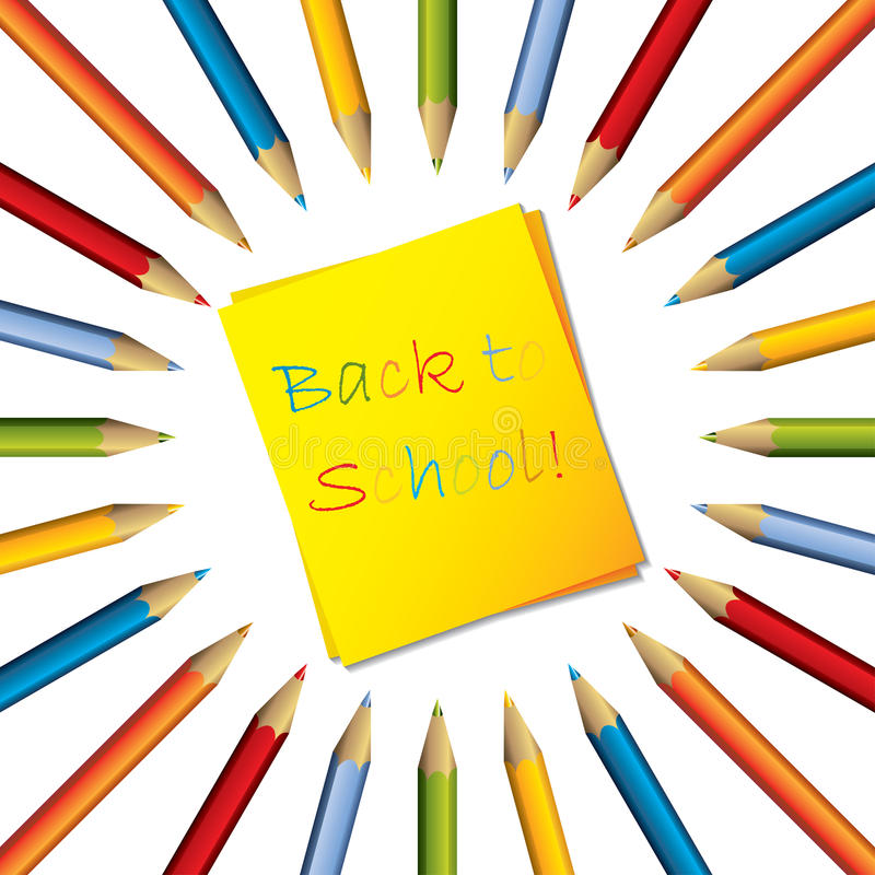 Download Sticky Note With Surrounding Color Pencils Royalty Free Stock Photography - Image: 26001137