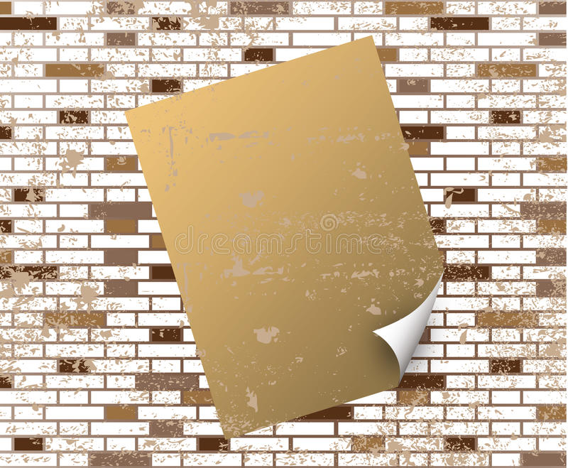 Download Sticky Note On T Dirty Brick Wall Stock Vector - Image: 9848027