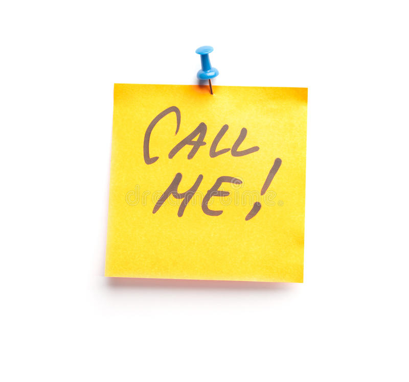 Sticky Note With Text Call Me On It Stock Photography
