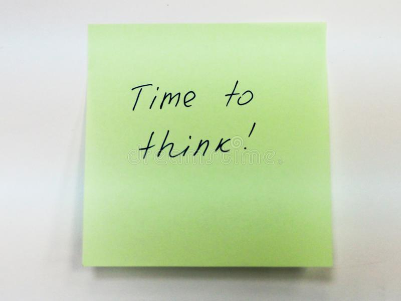 Sticky note with text time to think stock photos