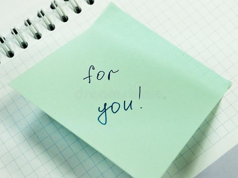 Sticky note with text for you, motivation stock photo