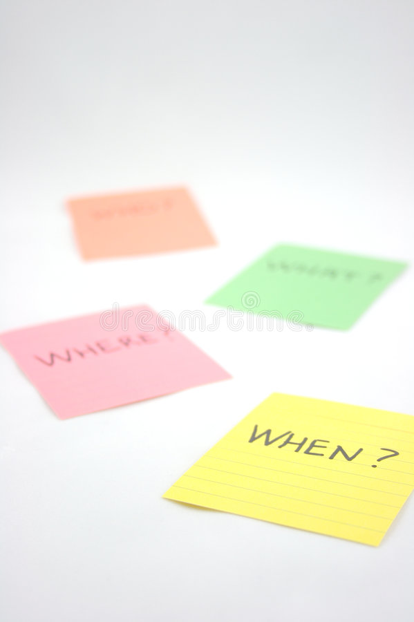 Sticky notes. Asking who? what? where? when royalty free stock photo